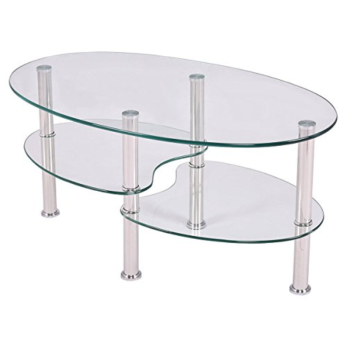 Oval Side Coffee Table Tempered Glass Shelf Chrome Base Living Room Clear (Table Rosewood Coffee Oval)