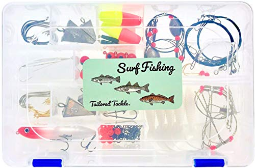 Tailored Tackle Saltwater Surf Fishing Kit 82 Pc Tackle Box with Tackle Included | Surf Fishing Rigs & Saltwater Fishing Lures | Pyramid Sinkers Hooks Leaders Swivels for Salt Beach Gear Equipment