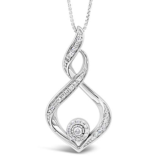 Diamond Necklace in Sterling Silver 1/5 cttw