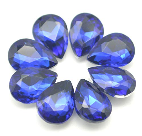 Catotrem Glass Teardrop Crystal Resin Rhinestone Pointback Faceted Jewelry Making DIY Craft(80pcs-Blue) ()