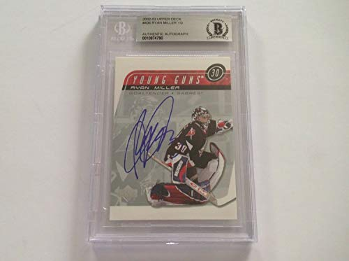 (Ryan Miller Autographed Signed Memorabilia 2002/03 Ud Young Guns Rc Card Slabbed - Beckett Authentic)