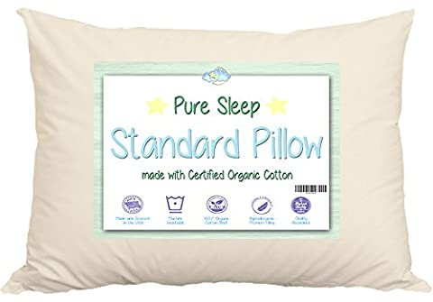 Bed Pillow With Delicate Handmade Organic Cotton Shell. Your Pure Sleep Standard 20x26 Size Works With Twin & Queen Beds & Pillowcases. Made In USA By A Family Company Thats Been Around For Decades.