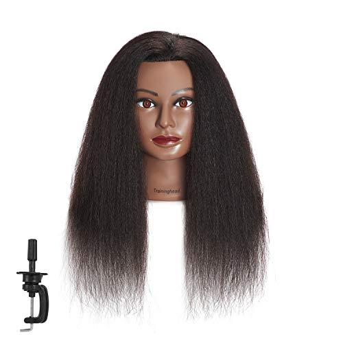 Traininghead 100% Real Hair Afro Mannequin Head Hairdresser Training Practice Head Cosmetology Manikin Head Doll Head With Free Clamp (A) from training head
