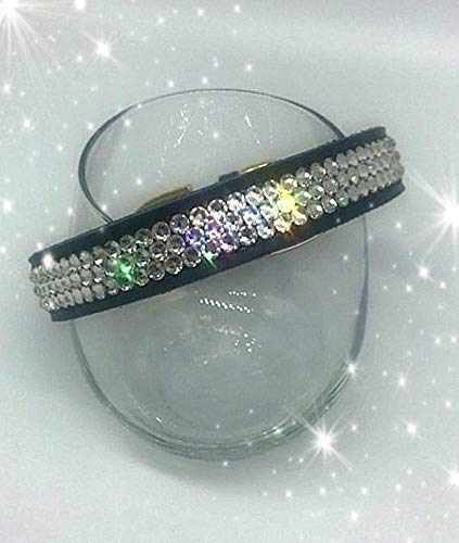 Bling Leather Dog Collar made with Clear Swarovski Crystals