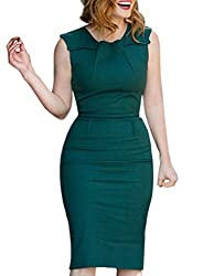 VfEmage Womens Elegant Vintage Ruched Wear To Work Business Casual Pencil Dress 2095 Blue 18