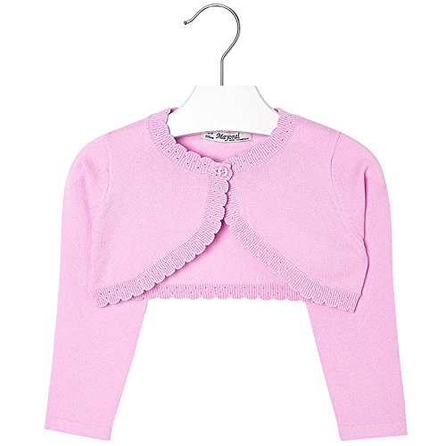 Mayoral Girls 2T-9 Orchid-Pink Scallop Edge Knit Shrug Cardigan Sweater, Orchid,2 by Mayoral