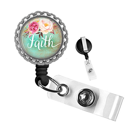 Faith Floral Silver Retractable ID Tag Badge Reel by Geek Badges