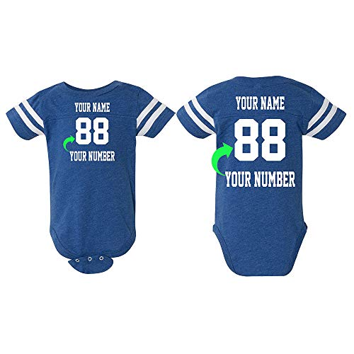 Just Customized Cute Infant Football Fine Personalized Jersey Baby Bodysuit with Contrasting Sleeve Stripes (Vintage Royal, ()