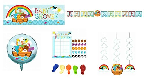 Noahs Ark Animals Baby Shower Party Supplies and Decorations: Banners, Balloons, Hanging Cutouts, and Bingo 5-Piece Bundle (Hanging Ark Noahs)
