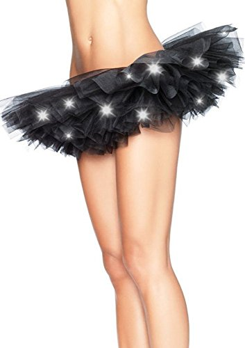 [Lmeison Black Led Light Up Tutu Mini Skirt Party Stage Show Club Dress] (Light Up Black Tutu)