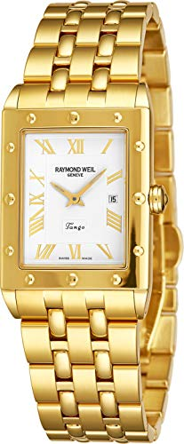 Raymond Weil Tango Mens Rectangular Yellow Gold Watch - White Face with Luminous Hands, Date and Sapphire Crystal - Classic Rectangle Swiss Made Quartz Watch ()