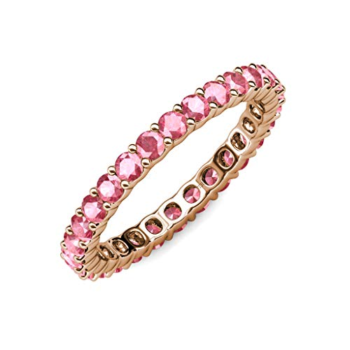 TriJewels 2.7mm Round Pink Tourmaline 1.16 ctw to 1.38 ctw Common Prong Womens Eternity Ring Stackable 14K Rose Gold.size 3.75