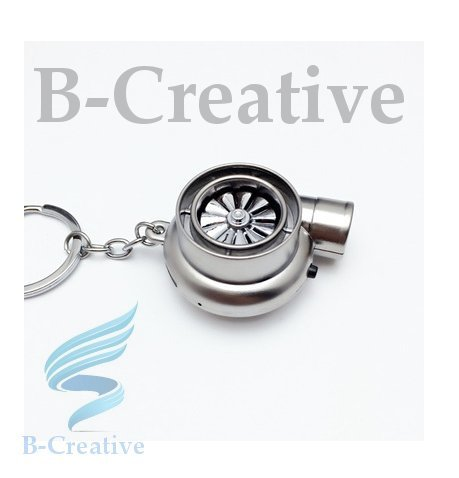 B-Creative UK Premium Quality LED Turbo Supercharger Rechargeable USB Electronic Cigarette Lighter Keyring KeyChain 2017 (Matte Silver): Toys & Games