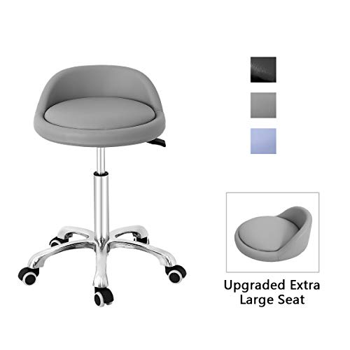(Grace & Grace Professional Gilder Series Extra Large Seat with Comfortable Backrest Rolling Swivel Pneumatic Adjustable Heavy Duty Stool for Shop, Salon, Office and Home (Grey))