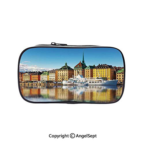 Big Capacity Pencil Case 1L Storage,Summer Panorama of The Gamla Stan in Stockholm Sweden Yacht Ship by The Port Ocean 5.1inches,Desk Pen Pencil Marker Stationery Organizer with Zipper for School &