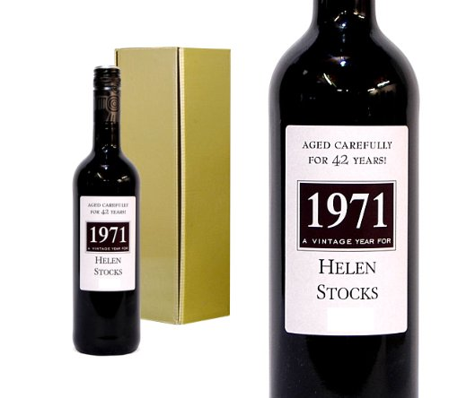 'A Vintage Year For' - Personalised Wine Bottle for Birthdays - Add Name, Age and Year of Birth for the Perfect Keepsake Gift. 750ml Bottle Red Wine in a ...