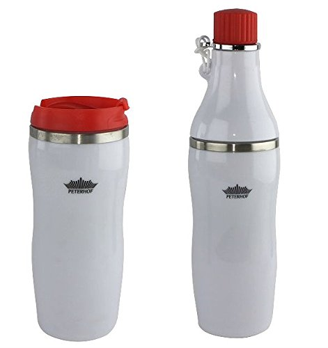 2 in 1 Double Wall Vacuum Insulated Stainless Steel Water Bottle - Travel mug, Tumbler Perfect for Outdoor Sports Camping Hiking Cycling with two Lids