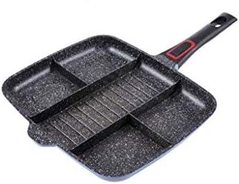 MHTCJ フライパン、マスター鍋ノンスティックは、卵、ベーコン、パンケーキを調理に適しグリル/フライ/オーブン食事スキレット、ブラック、分割しました