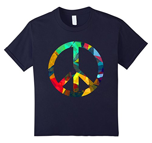 Kids Cute Rainbow Peace Sign Tee Gift Birthday Shirt PLUR LGBTQ 4 Navy (Shirt Plur T)