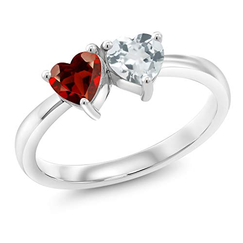 Gem Stone King 0.93 Ct Heart Shape Red Garnet Sky Blue Aquamarine 925 Sterling Silver Ring (Size 7)