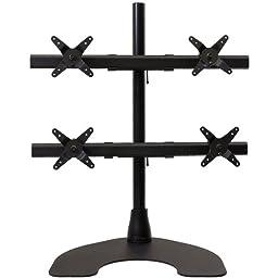 Ergotech Heavy Duty 2 x 2 Quad Desk Stand with 28-Inch Pole - Black (100-D28-B22-HD)