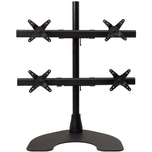 Ergotech Heavy Duty 2 x 2 Quad Desk Stand with 28-Inch Pole - Black (100-D28-B22-HD)