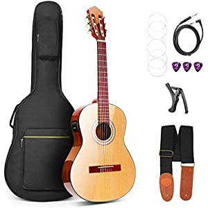 Vangoa 3/4 Konzertgitarre 2 Band EQ Elektroakustische Spanische Gitarre 36 Zoll mit Eingebautem Tuner