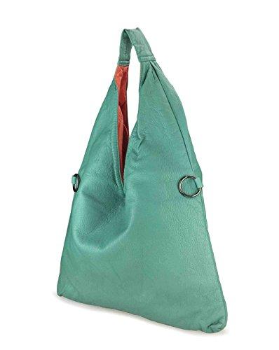 Tote 2 Shoulder Leather 1 Grass Women Soft Block Washed Color Hobo in Handbag Green qZwP1