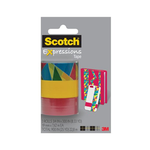 Scotch Expressions Magic Tape/ 3/4 x 300 Inches/ Diamonds/ Yellow/ Red/ 3-Rolls/Pack (C214-3PK-10)