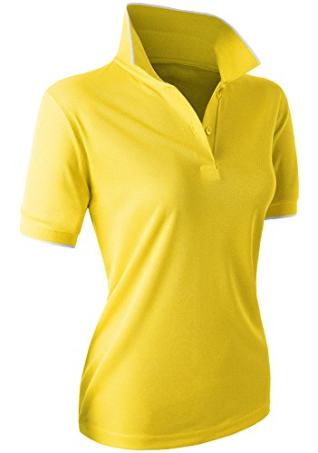 CLOVERY Coolmax Fabric Moisture Wicking Short Sleeve 2-Button POLO Shirt Yellow X-Large