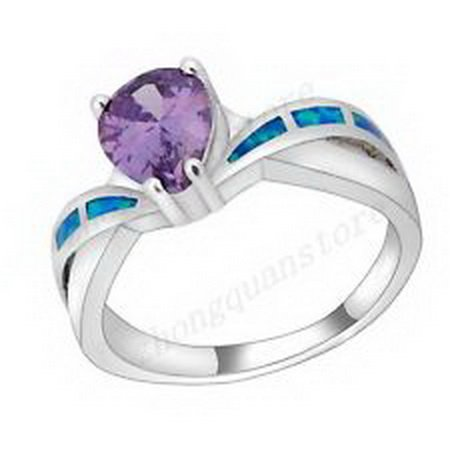 jacob alex ring Opal Ring Size 9 Drop Purple Amethyst Women's 925 Sterling Silver Wedding by jacob alex