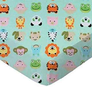 product image for SheetWorld 100% Cotton Flannel Flat Crib Toddler Sheet 28 x 52, Animal Faces Aqua, Made in USA
