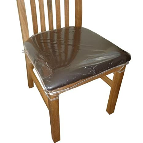 Superbe 4 X Clear Plastic Dining Chair Seat Cushion Covers Protectors.