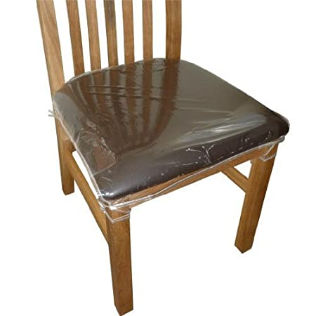 Elegant 4 X Clear Plastic Dining Chair Seat Cushion Covers Protectors.
