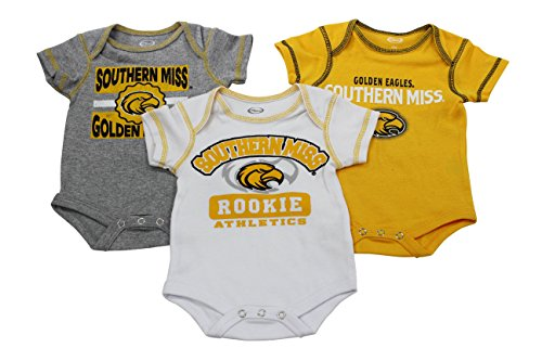 (Outerstuff Baby Southern Miss Golden Eagles Rookie 3 Piece Creeper Set)