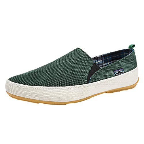 Men's Casual Loafers Flats Shoes 2019 Summer Breathable Slip-on Walking Canvas Sneaker (US:9, Green)