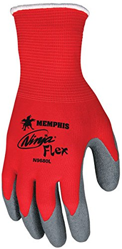 Memphis N9680 Red Ninja Flex Gloves, 15 Gauge, Size Medium, (12 Pair)