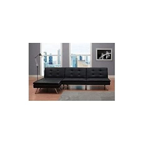 Amazon Black Modern Sectional Sofa Futon Convertible Sleeper