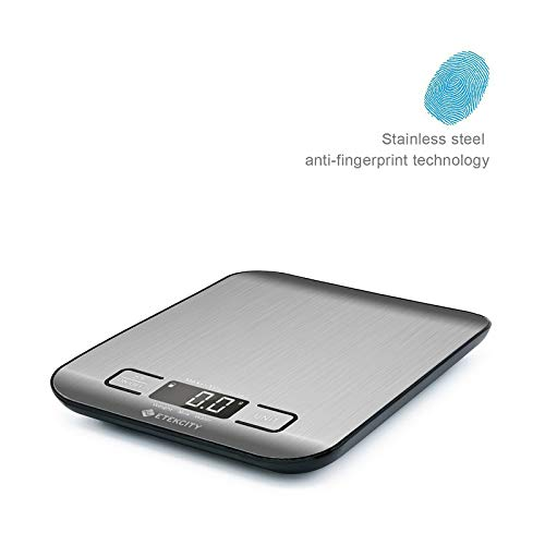 Etekcity Digital Multifunction Food Kitchen Scales, Stainless Steel Cooking Scales, 11lb 5kg, Silver, Batteries Included