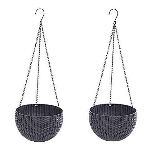 Hanging Basket Rattan Plastic Flower Pot Round Resin Garden Hanging Planter for Indoor Outdoor Plants,2 Pack Grey Small Size 6.5in x 4.5in by U-House