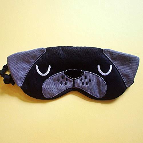 Black Pug French BullDog Sleep Mask, Padded Flight Eye Cover Cute Blindfold Comic Con Cosplay Gifts]()