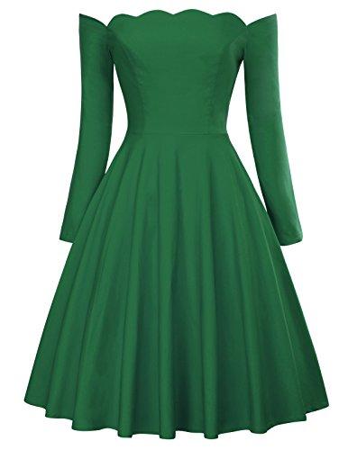 PAUL JONES Dark Green Cocktail Dress Off Shoulder Swing Dress Size XL