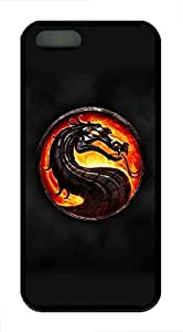 VUTTOO iPhone 5 Case, iPhone 5S Cases - VUTTOO Full-Body Protective Soft Rubber Case for iPhone 5/5s Mortal Kombat Dragon Circle Smoke Fire Ultra Slim Black Rubber Back Bumper Case for iPhone 5/5S