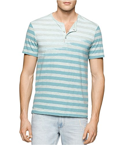 Calvin Klein Mens Faded-Stripe Henley Shirt, Green, XX-Large