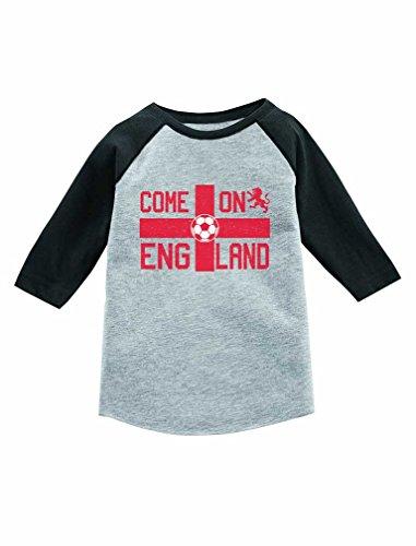 Come On England Soccer Fans UK Flag 3/4 Sleeve Baseball Jersey Toddler Shirt 2T Dark Gray
