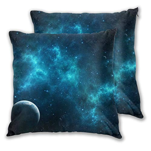Shopaholics Store Throw Pillow Cover Square Set of 2 for Office Decor Breathable with Printed Space Wallpaper]()