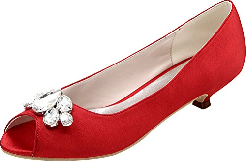 Prom Peep 10 Comfort Smart Rhinestone Heel Toe Eu Satin Work 5 Fashion Bridesmaid Party 37 Red Dress Wedding Kitten Bride 0700 Ladies Sandals 7qw84C4