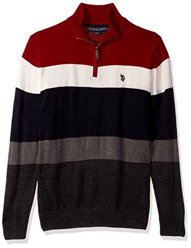 U.S. Polo Assn. Men's Double Striped 1/4 Zip Sweater, Apple Cinnamon, XX-Large (1/4 Zip Striped Sweater)