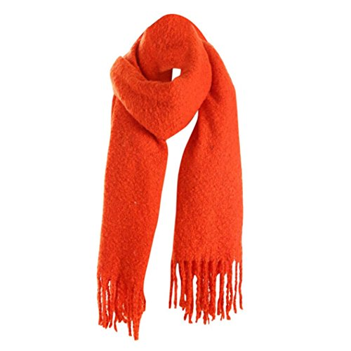 Elogoog Tassel Imitation Cashmere Long Scarf Women Winter Scarves Warm Wool Multi Color Shawl  Orange