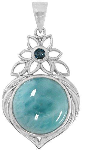 BillyTheTree Gemstone Jewelry Sterling Silver Larimar Pendant BTS-NP8751 LR LBT R